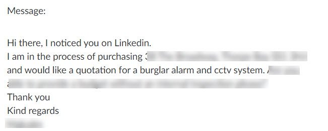 fire and security enquiries saying i noticed you on linkedin